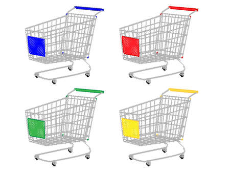 reduced value: Shopping Carts in Different Colours Blue Red Green Yellow Pencil Style Illustration