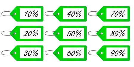 Discount Tags 4 Green Vector