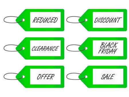Sale Tags 4 Green Vector