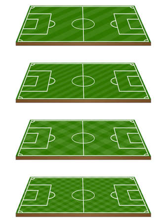 soccer goal: Set of Football Fields 3D Perspective 3 Diagonal Patterns