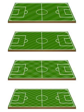 offside: Set of Football Fields 3D Perspective 3 Diagonal Patterns