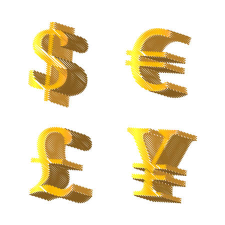Golden Currencies Symbols Dollar Euro Pound Yen Pencil Style Vector