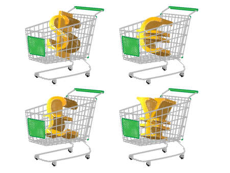Green Shopping Cart with Money Signs  Dollar Euro Pound Yen Pencil Style