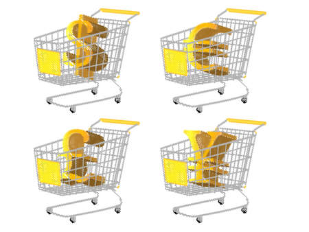 reduced value: Yellow Shopping Cart with Money Signs  Dollar Euro Pound Yen Pencil Style