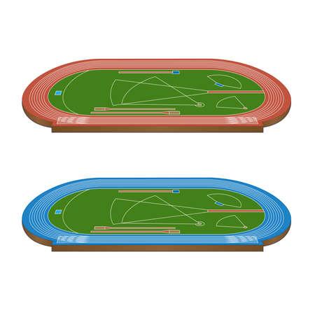 lanzamiento de disco: Campo de Atletismo con Pistas corrientes en rojo y azul Perspectiva 3D Vectores