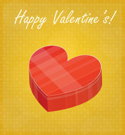 Happy Valentine s Card with Heart Shaped Box Golden Background EPS 10