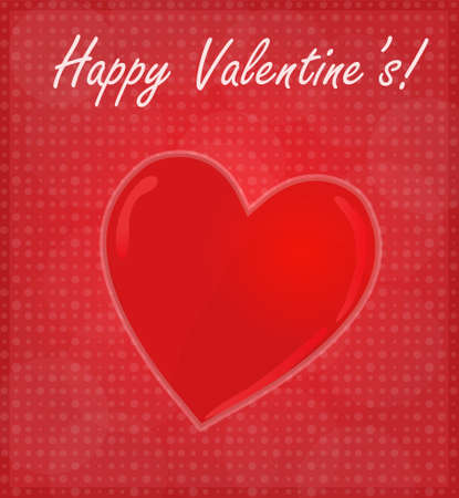 Happy Valentine s Card with Glossy Heart Red