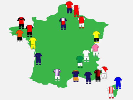 qualify: French League Clubs Map 2013-14 Ligue Illustration