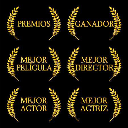Film Winners Laurels in Spanish 2 Vector