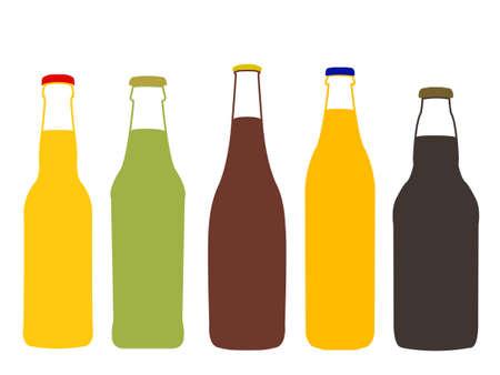 jarra de cerveza: Diferentes tipos de cerveza completa ilustraci�n de botellas Vectores