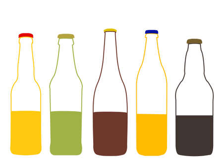 half full: Different Kinds of Beer Half Full Bottles Illustration