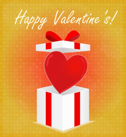 Happy Valentine s Card with Glossy Heart on Open Gift Box Red   Golden Background EPS 10 Vector