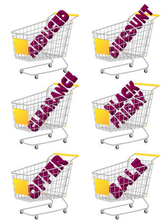reduced: Yellow 3D Shopping Cart with Sale Texts