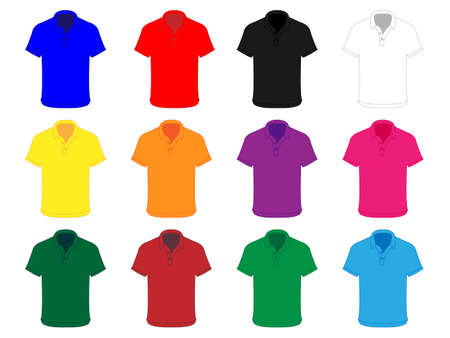red shirt: Polo Shirts in Different Colours Illustration
