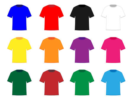 athletic wear: Tee Shirts in Different Colours Illustration