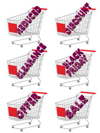 reduced: Red 3D Shopping Cart with Sale Texts