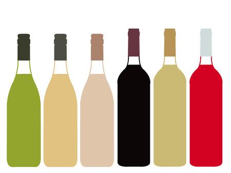 Different Kinds of Wine Full Bottles Illustration