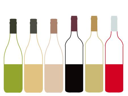 half full: Different Kinds of Wine Half Full Bottles Illustration