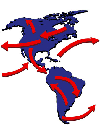 the americas: Americas Expansion Market Trade Routes Business Map 3D Illustration
