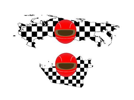 Racing Flag Maps 8 Russia Abu Dhabi Vector