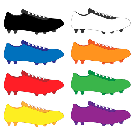 soccer goal: Football Cleats in Different Colours Black White Blue Orange Red Green Yellow Purple Illustration