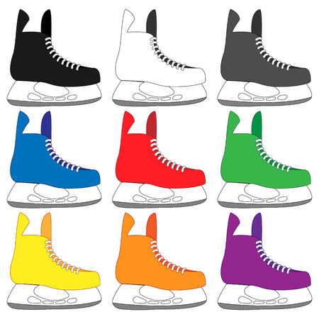 Ice Skates in Different Colours Black White Blue Orange Red Green Yellow Purple Illustration
