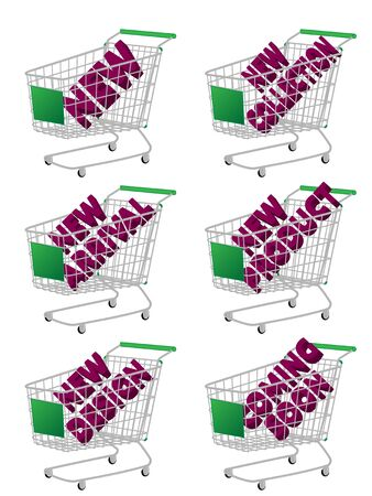 new arrivals: Green 3D Shopping Cart with New Arrivals Texts