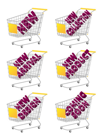e cash: Yellow 3D Shopping Cart with New Arrivals Texts