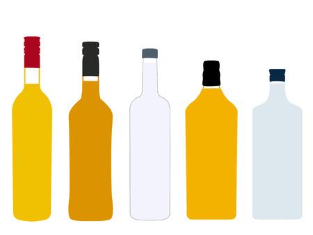 scotch: Different Kinds of Spirits Full Bottles Illustration