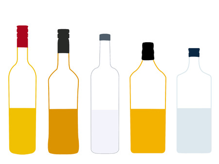 shooters: Different Kinds of Spirits Half Full Bottles Illustration Illustration