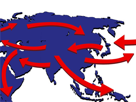 air port: Asia Expansion Market Trade Routes Business Map 3D