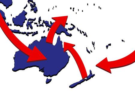 オセアニア拡張市場貿易ルート ビジネス Map 3D