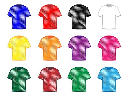 Tee Shirts in Different Colours Pencil Style 2 Vector