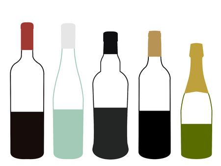 half full: Wines of Europe Half Full Bottles Illustration
