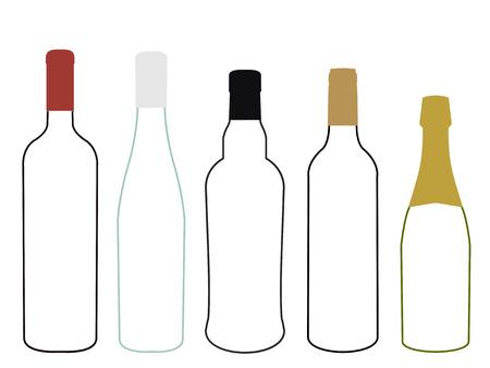 Wines of Europe Empty Bottles Illustration Ilustrace
