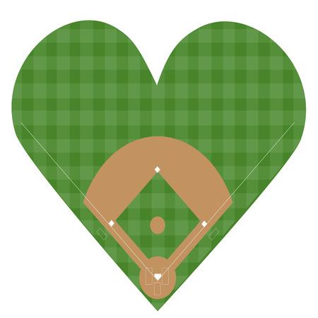 speelveld gras: Ik houd van het Honkbal Stock Illustratie