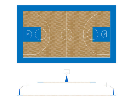 Basketball Court 2 Plan and Sections Stock Vector - 27357909