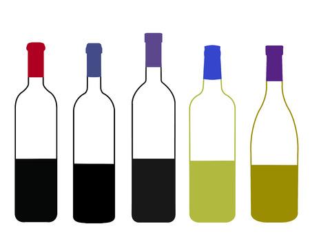 napa: Wines of the World Half Full Bottles Illustration Illustration