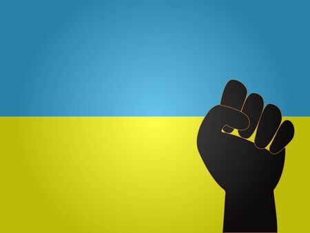 Ukrainian Flag with Protest Sign EPS10 Illustration