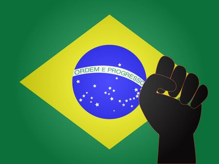 Brazilian Flag with Protest Sign EPS10 Illustration