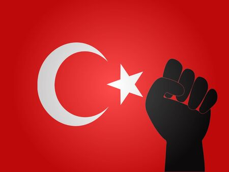 Turkish Flag with Protest Sign EPS10