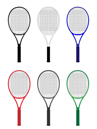 deuce: Tennis Rackets in Different Colours Black White Blue Red Gray Green