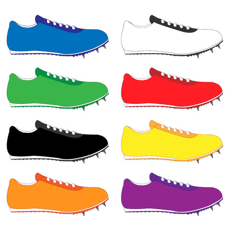 black and yellow: Running Shoes with Spikes in Different Colours Blue White Green Red Black Yellow Orange Purple Illustration