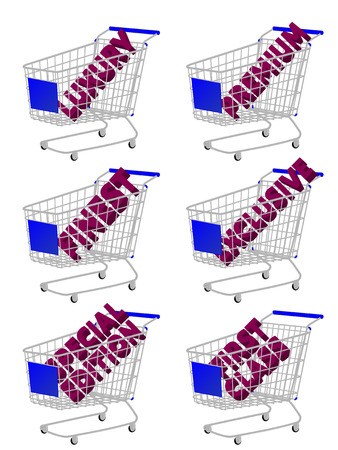 costumer: Blue 3D Shopping Cart with Luxury Articles Texts Illustration