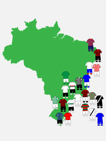 league: Brazilian League Clubs Map Illustration