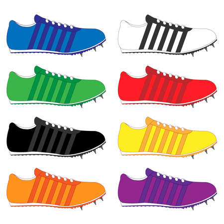 black and yellow: Running Shoes with Spikes and Stripes in Different Colours Blue White Green Red Black Yellow Orange Purple Illustration