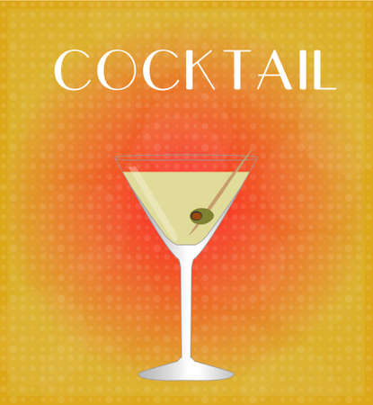 date night: Drinks List Martini with Red   Golden Background  Illustration
