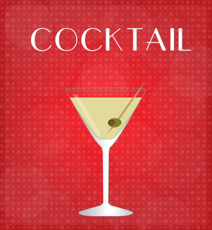 Drinks List Martini with Red Background
