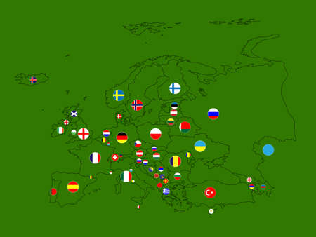 Europe Map Circles Vector