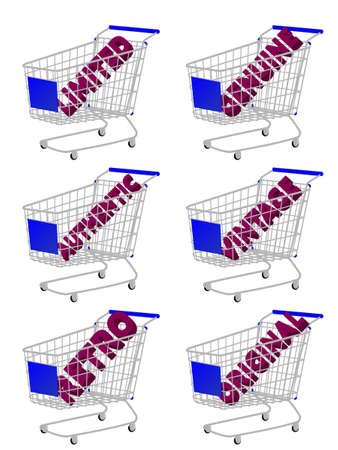 Blue 3D Shopping Cart with Vintage Texts Vector